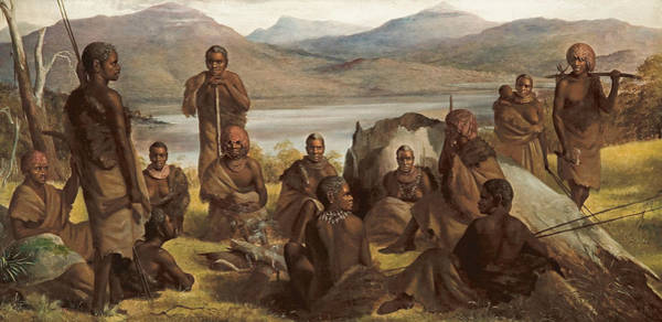 Aborigine Painting - Group Of Natives Of Tasmania by Robert Dowling
