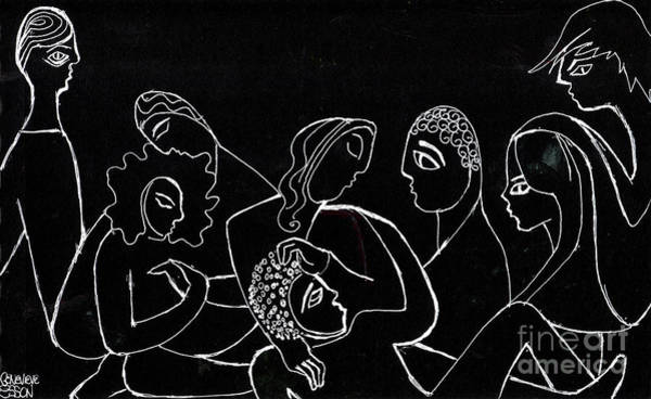 Caucasian Drawing - Group Of People Hanging Out by Genevieve Esson