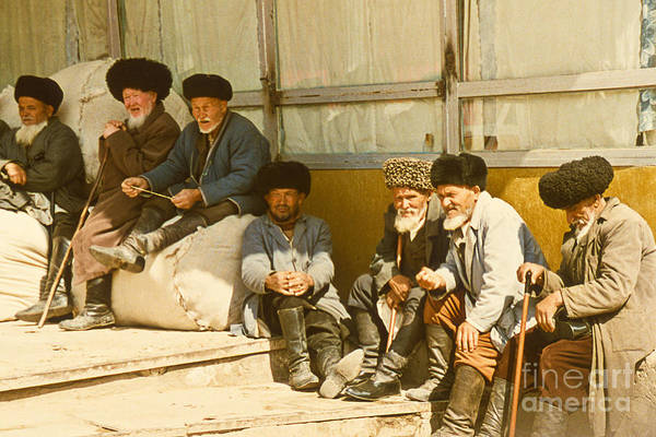 Photograph - Group Of Uzbek Retirees by Heiko Koehrer-Wagner
