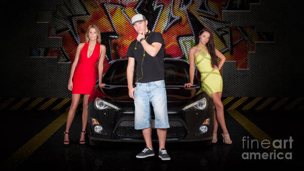 Motoring Photograph - Group Of Young People Beside Black Modern Car by Jorgo Photography - Wall Art Gallery