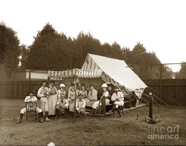 Photograph - Group On Tennis Ground Group Of Tennis Players On The Ground By A Tent by California Views Archives Mr Pat Hathaway Archives