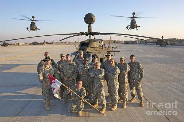 Kiowa Photograph - Group Photo Of U.s. Soldiers At Cob by Terry Moore