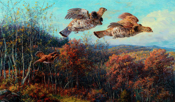 Wall Art - Painting - Grouse In Flight by Edmund Henry Osthaus