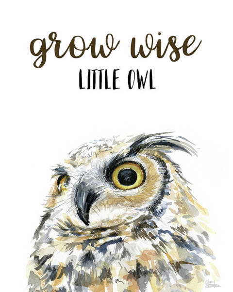 Grow Wall Art - Painting - Grow Wise Little Owl by Olga Shvartsur