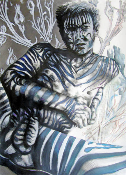 Painting - Growing Pains Zebra Boy  by Rene Capone