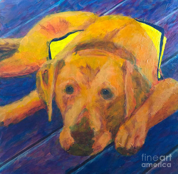Service Dog Painting - Growing Puppy by Donald J Ryker III