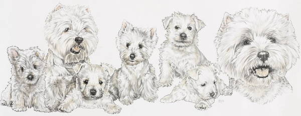Wall Art - Mixed Media - West Highland White Terrier Family by Barbara Keith