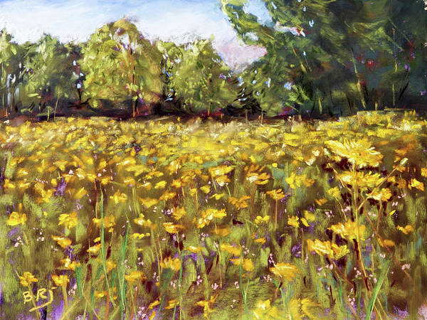 Painting - Growing Wild - Wildflower Landscape by Barry Jones