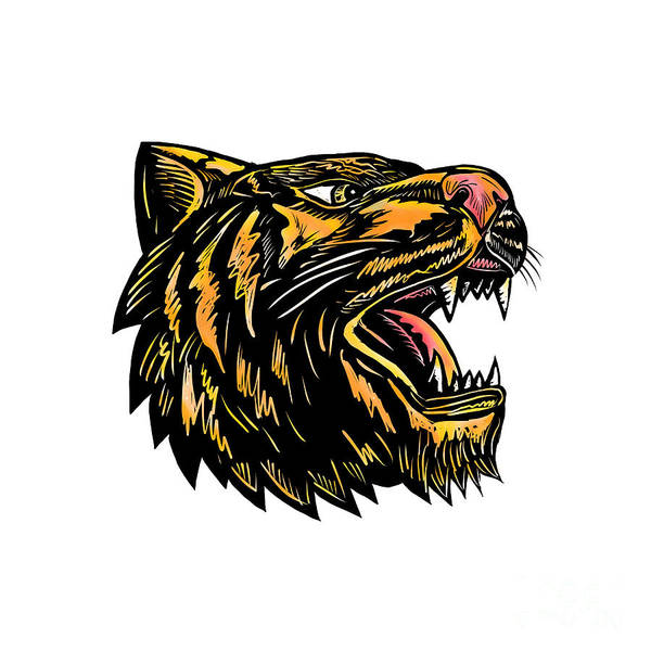 Growling Wall Art - Digital Art - Growling Tiger Woodcut by Aloysius Patrimonio