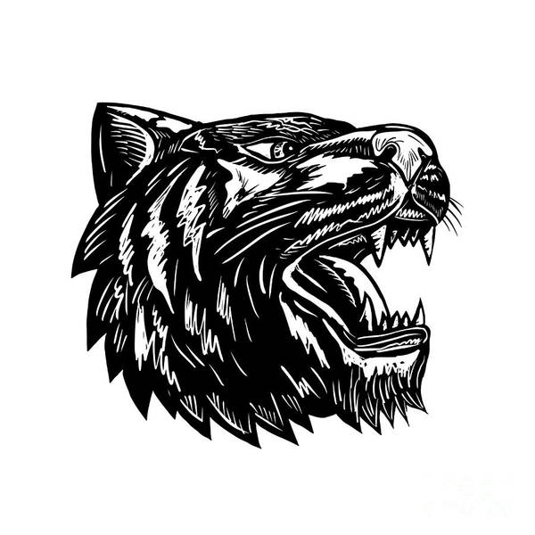 Growling Wall Art - Digital Art - Growling Tiger Woodcut Black And White by Aloysius Patrimonio