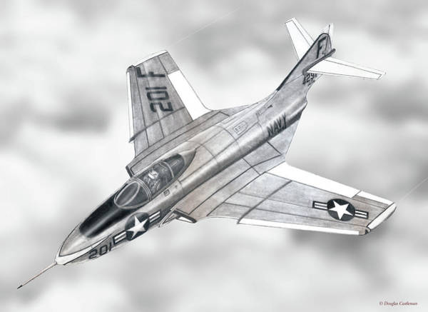 Drawing - Grumman F9f Cougar by Douglas Castleman