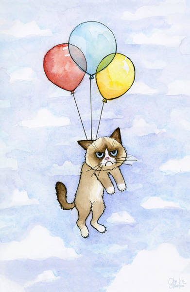Cat Painting - Grumpy Cat And Balloons by Olga Shvartsur