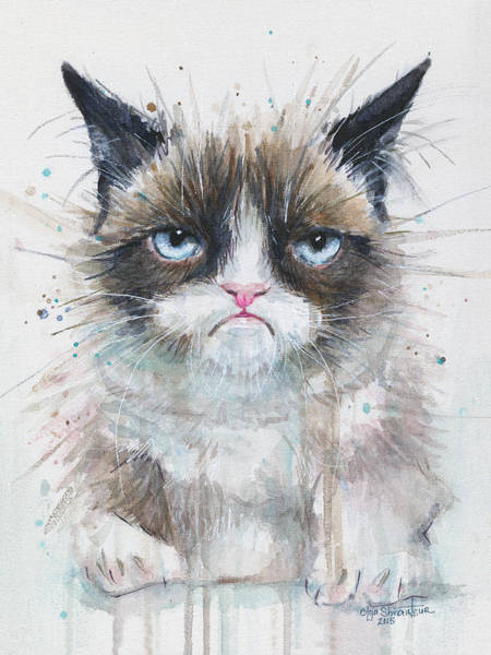 Kitty Wall Art - Painting - Grumpy Cat Watercolor Painting  by Olga Shvartsur