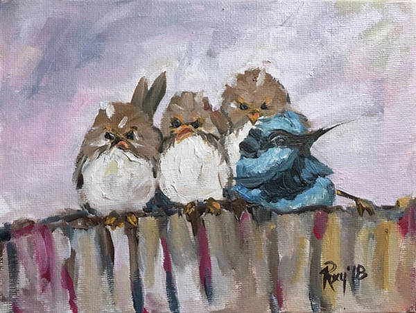 Blue Painting - Grumpy Morning by Roxy Rich