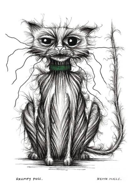 Miserable Drawing - Grumpy Puss by Keith Mills