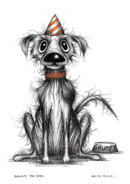 Miserable Drawing - Grumpy The Dog by Keith Mills