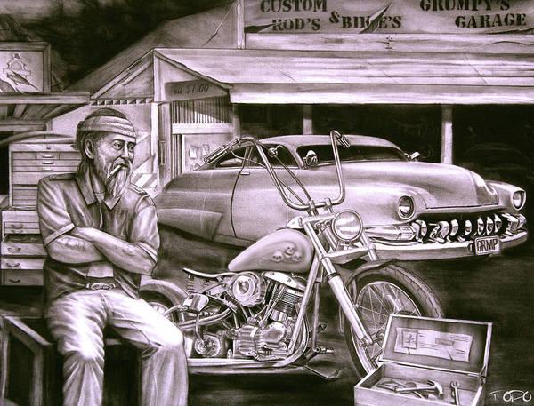 Hot Rod Drawing - Grumpy's Garage by Todo Brennan