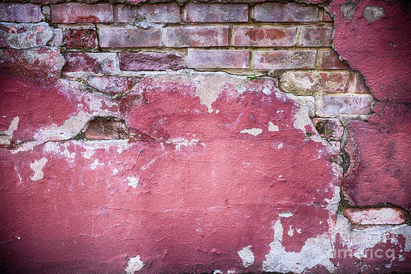 Dilapidation Wall Art - Photograph - Grunge Red Wall With Broken Plaster by Simon Bratt Photography LRPS