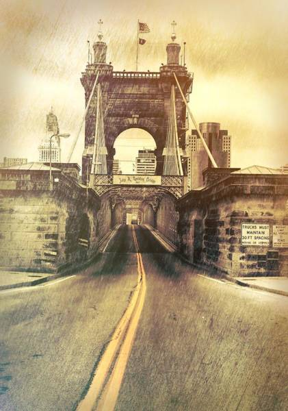 Mixed Media - Grunge Roebling Bridge Cincinnati by Dan Sproul