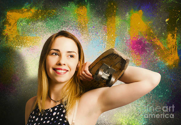 Skater Photograph - Grunge Skateboarding Girl On Graffiti Wall by Jorgo Photography - Wall Art Gallery