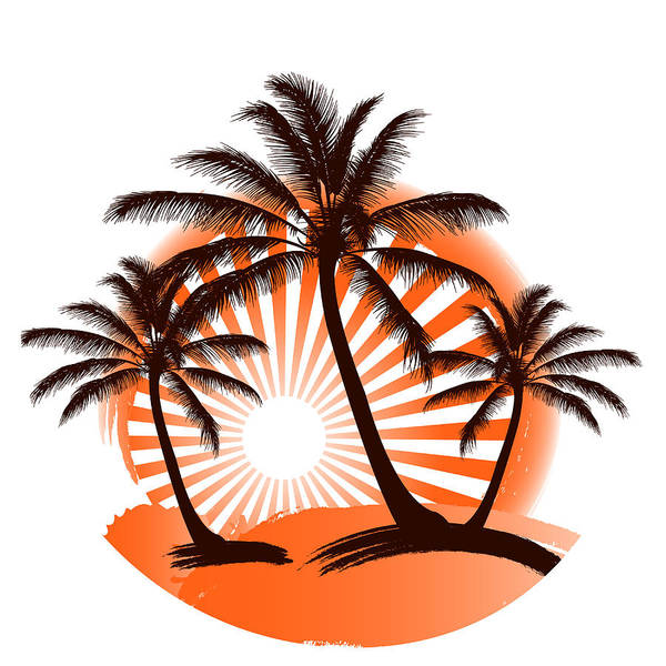 Grunge Tropical Summer Print Wtih Palm Trees And Abstract Sun On The Background Art Print