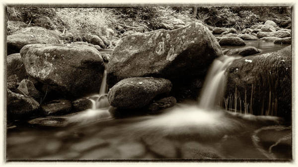 Wall Art - Photograph - Gsmnp Roaring Fork - Sepia With Border by Stephen Stookey