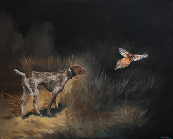 German Pointer Painting - GSP by Pavel Francev