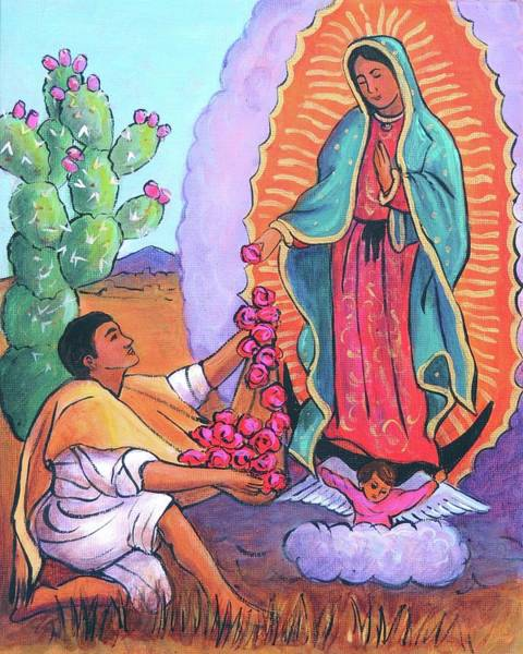 Wall Art - Painting - Guadalupe And Juan Diego by Candy Mayer