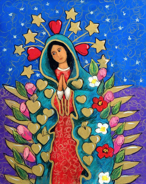 Wall Art - Pastel - Guadalupe With Stars by Candy Mayer