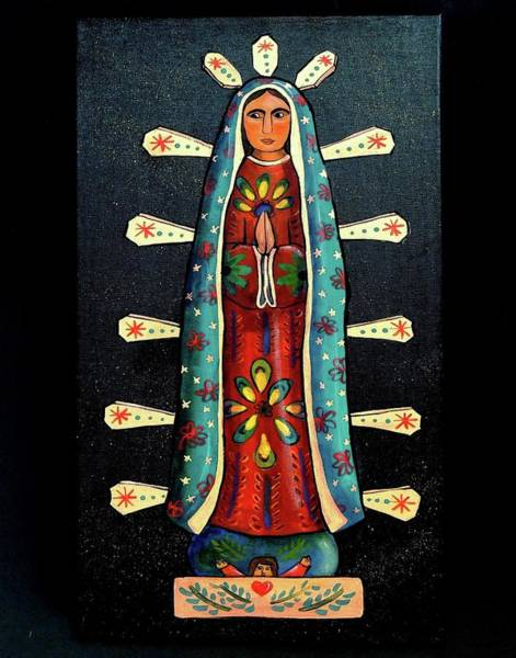 Wall Art - Painting - Guadalupe Wood Carving by Candy Mayer
