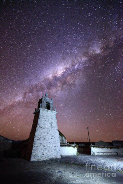 Photograph - Guallatiri Village Church And Milky Way Chile by James Brunker