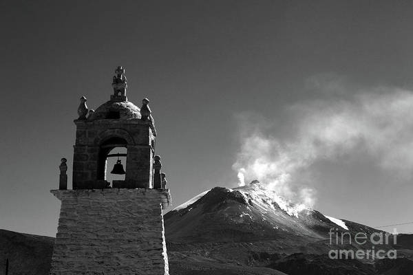 Photograph - Guallatiri Volcano In Black And White Chile by James Brunker