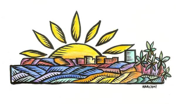 Painting - Guam Sunset 2009 by Marconi Calindas