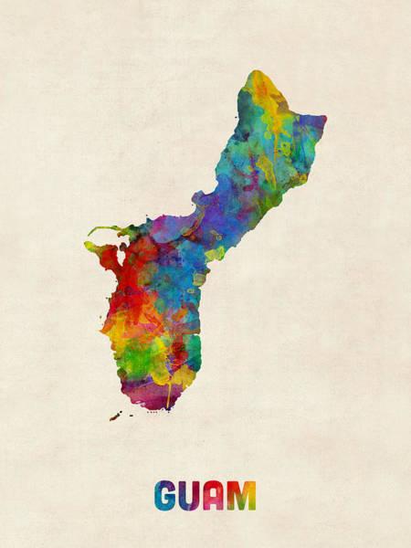 Pacific Digital Art - Guam Watercolor Map by Michael Tompsett