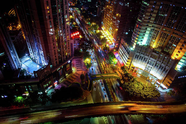 Photograph - Guangzhou City Streets At Night by Geoffrey Lewis