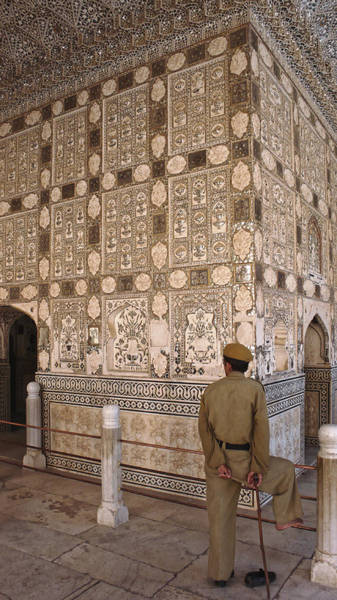 Photograph - Guard Of The Mirrored Room, Amber Fort 2007 by Chris Honeyman