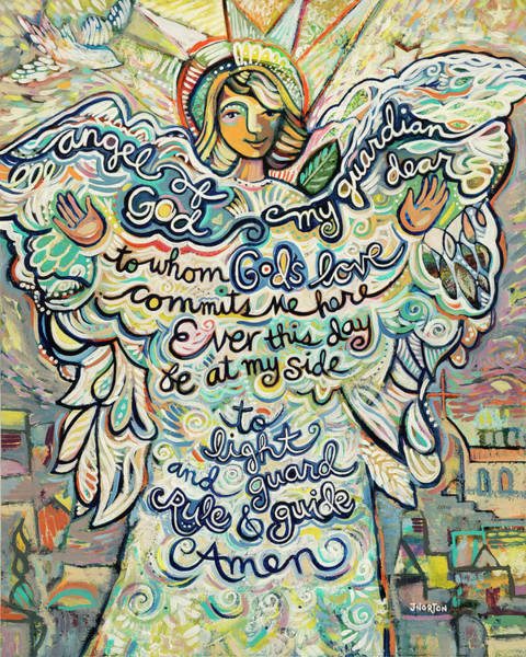 Wall Art - Painting - Guardian Angel by Jen Norton