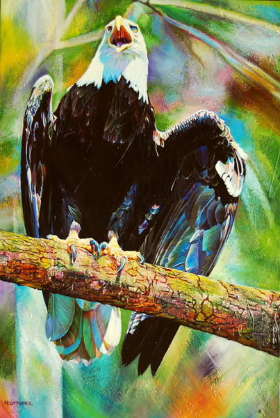 Bald Eagles Drawing - Guardian Bald Eagle by Kelly McNeil