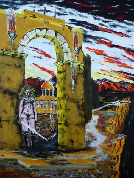 Flaming Sword Painting - Guardian Of Secrets by Antonio Casanova