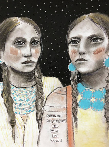 Native Mixed Media - Guardians Of The Sky by Lynn Colwell