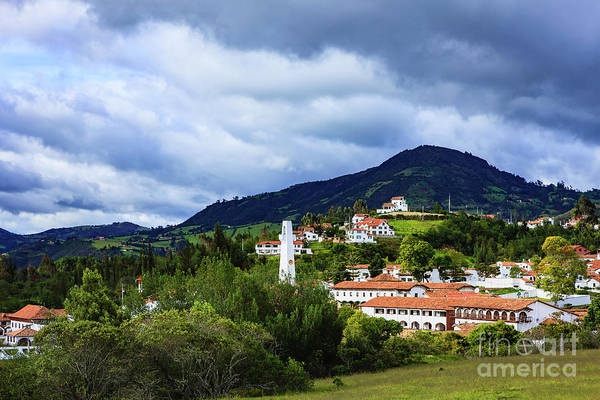Guatavita Wall Art - Photograph - Guatavita, Colombia -looking Over Terracota Tiled Roofs, Towards The Andes by Devasahayam Chandra Dhas