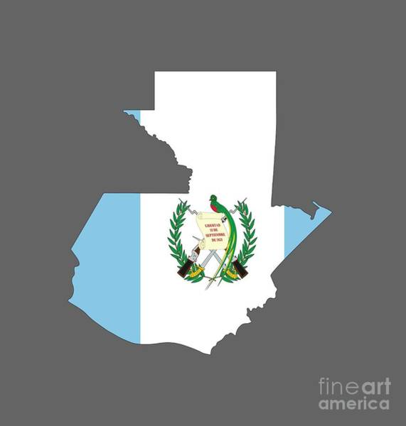 Guatemala Flag Digital Art - Guatemala Flag Map by Frederick Holiday