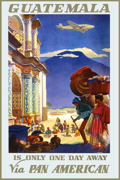 Kunst Painting - Guatemalan People Queued In Front Of A Colorful Ornate Building - Pan American Vintage Poster by Studio Grafiikka