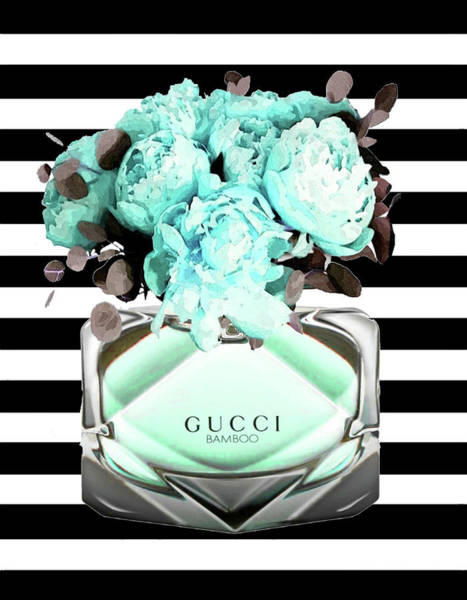 Wall Art - Mixed Media - Gucci Blue, Black And White Perfume by Del Art