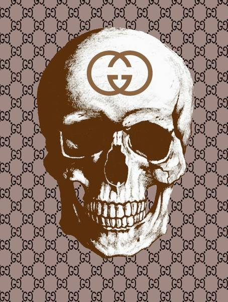 Wall Art - Painting - Gucci Poster Gucci Print Gucci Skull Brown Print by Del Art
