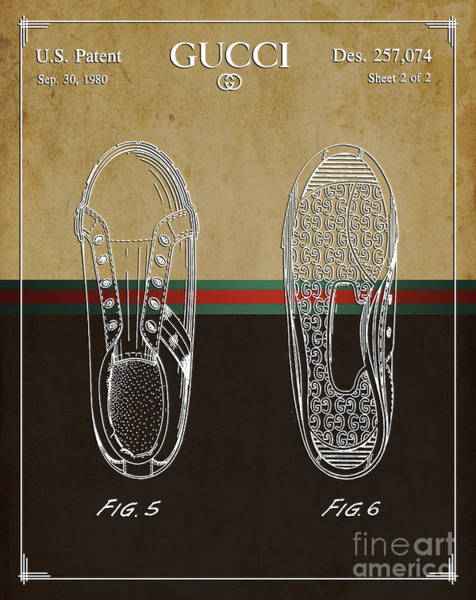 Collectible Art Drawing - Gucci Shoe Patent 1 by Nishanth Gopinathan