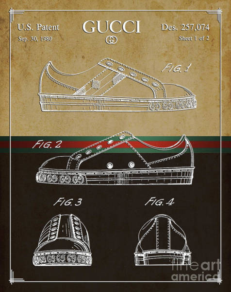 Collectible Art Drawing - Gucci Shoe Patent 2 by Nishanth Gopinathan
