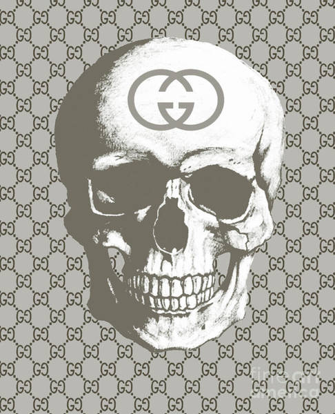 Wall Art - Painting - Gucci  Skull Grey by Del Art