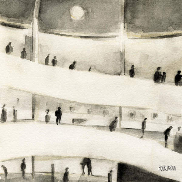 Sepia Painting - Guggenheim Inside by Beverly Brown