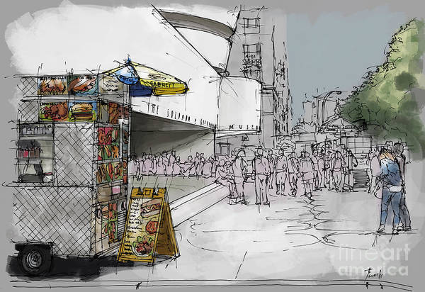 Wall Art - Painting - Guggenheim Museum New York Sketch by Drawspots Illustrations